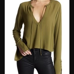Free People S Jump To The Beat Blouse Olive Top